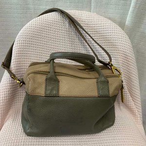 FOSSIL leather khaki beige carry bag
